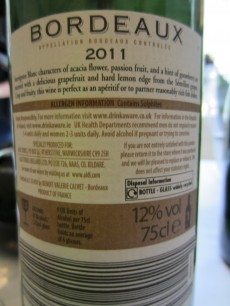 Calvet Bordeaux Blanc 2011 - Back