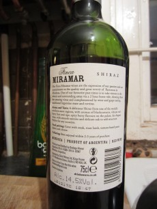 Finca Miramar Seleccion Shiraz 2011 - Back
