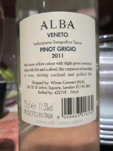 Alba Veneto Pino Grigio 2011 - Back