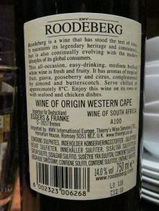 KWV Roodeberg Western Cape 2009 - Back