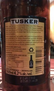Tusker Lager - Back
