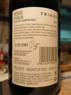 Triade Rosso Puglia Back
