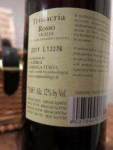 Trinacria Rosso Sicilia 2011 - Back