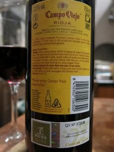 Campo Viejo Rioja Tempranillo 2010 back