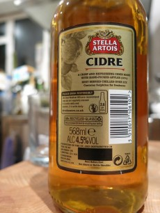 Stella Artois Belgium Recipe Cidre Label