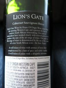 Lions Gate Cabernet Sauvignon Shiraz 2012 Label