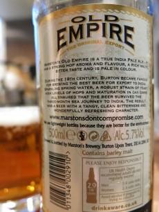Marston's Old Empire India Pale Ale Label