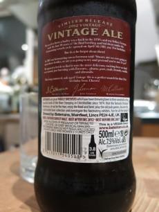Batemans Vintage Ale Limited Release 2012 Back