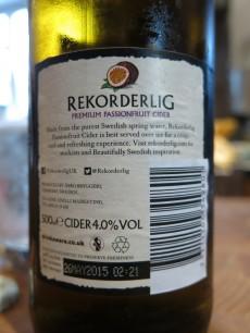 Rekorderlig Premium Passion Fruit Cider Back